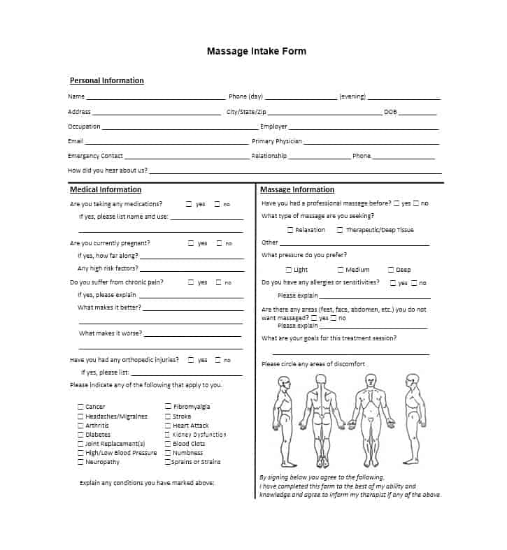 Massage Intake Form Template 12