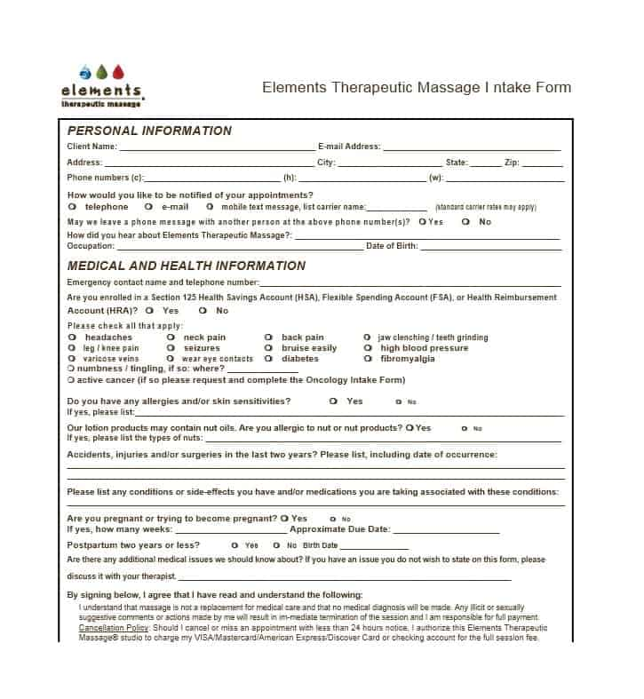 Massage Intake Form Template 14