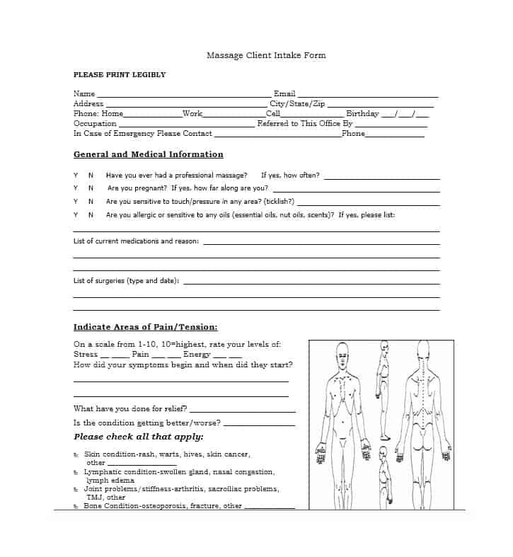 Massage Intake Form Template 15