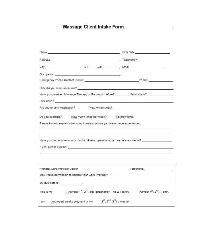 Massage Intake Form Template 19
