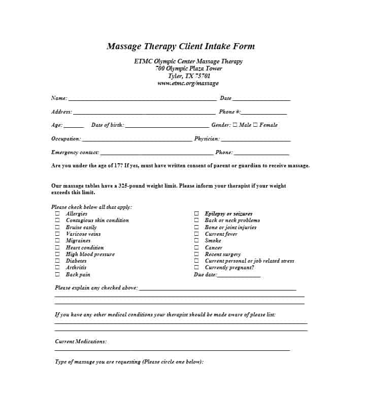Massage Intake Form Template 20