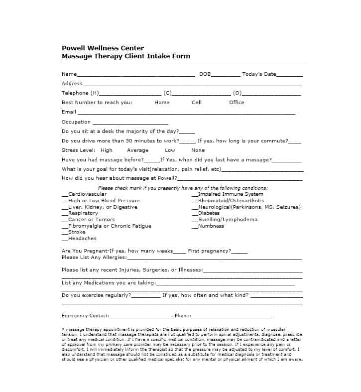 Massage Intake Form Template 21