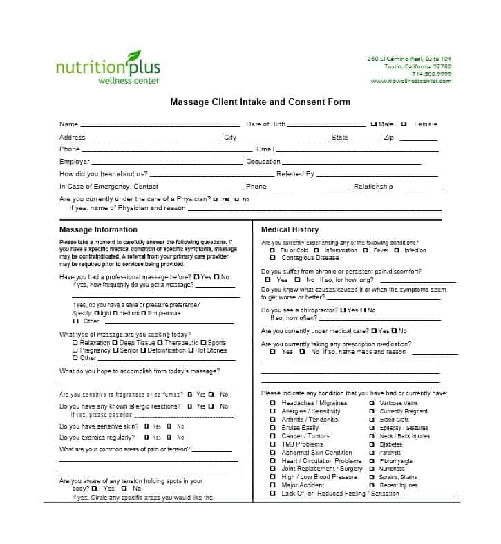 Massage Intake Form Template 23