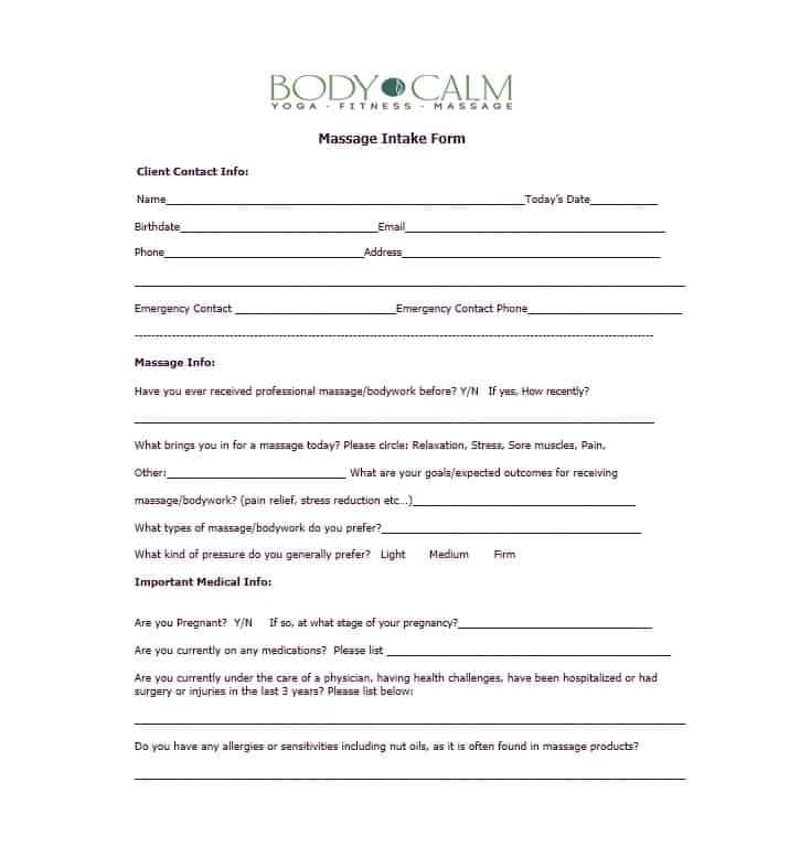 Massage Intake Form Template 24