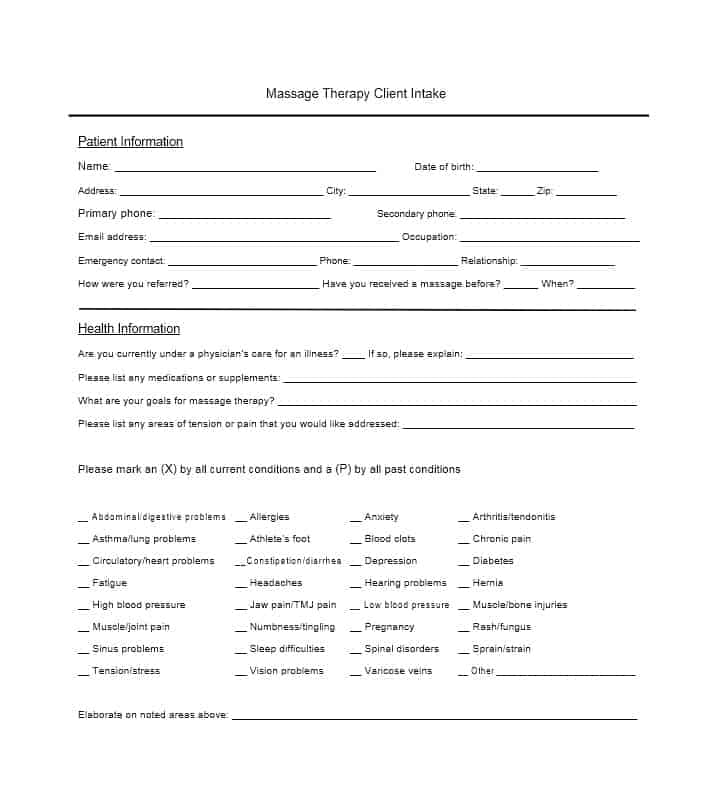 Massage Intake Form Template 25