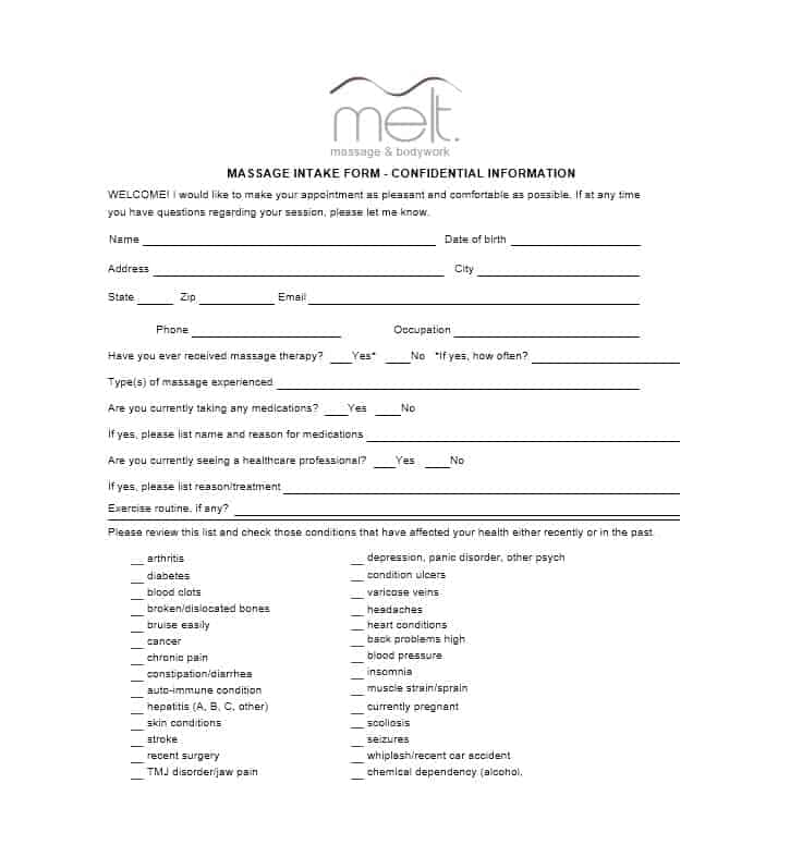 Massage Intake Form Template 27