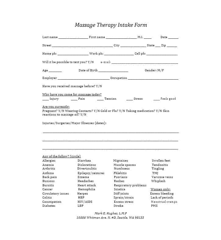 Massage Intake Form Template 28