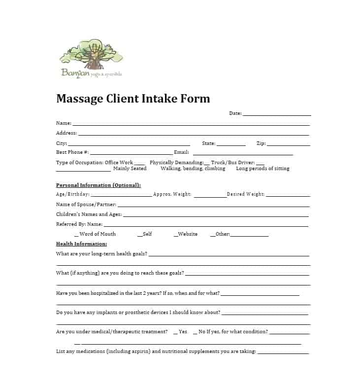 Massage Intake Form Template 29