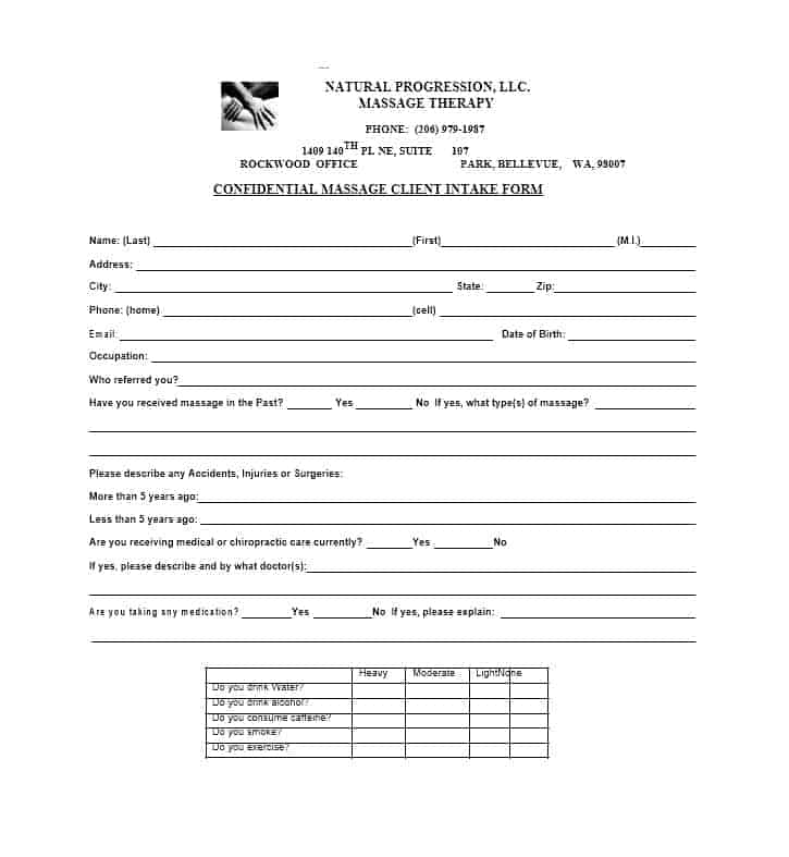 Massage Intake Form Template 31