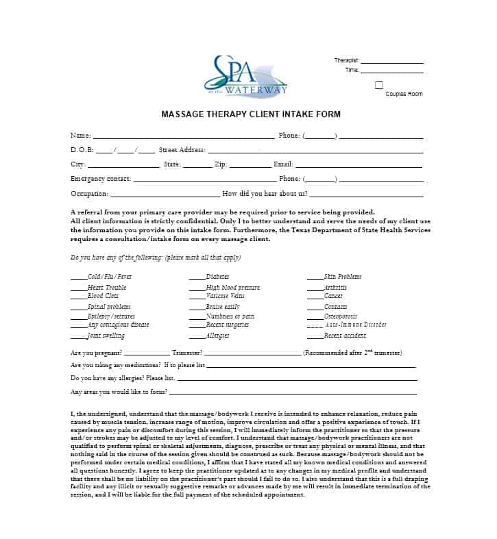 Massage Intake Form Template 32