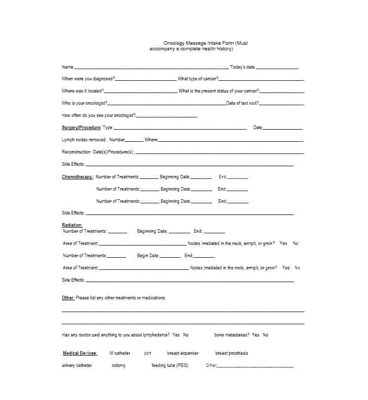 Massage Intake Form Template 33