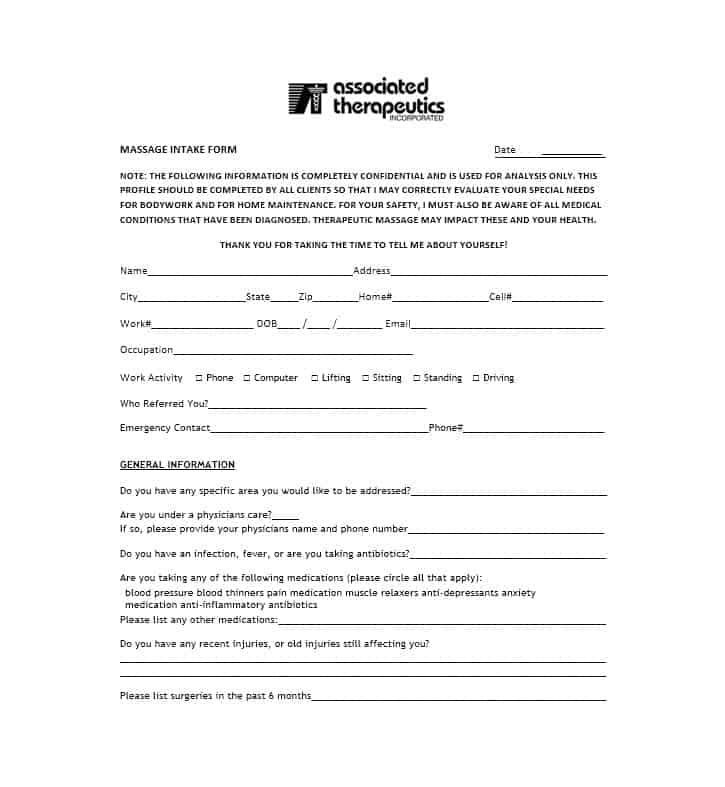 Massage Intake Form Template 35