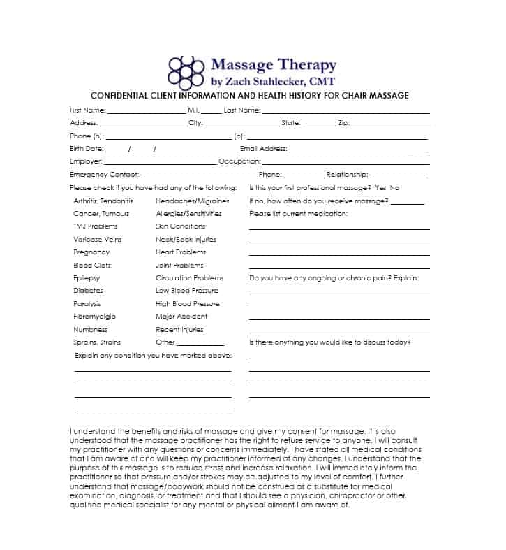 Massage Intake Form Template 37