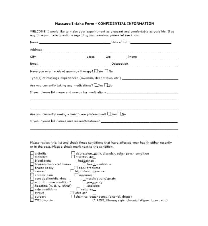 Massage Intake Form Template 40