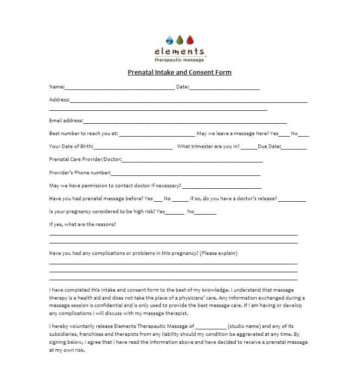Massage Intake Form Template 41