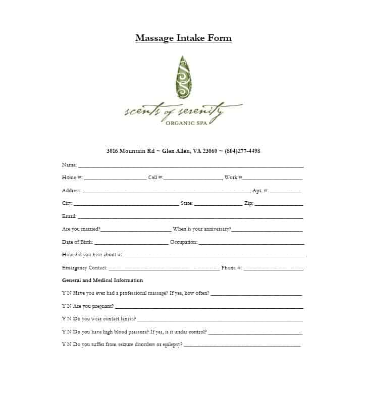 Massage Intake Form Template 42