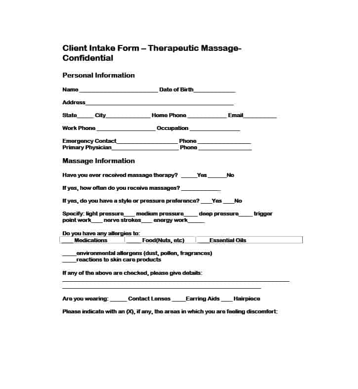 Massage Intake Form Template 44