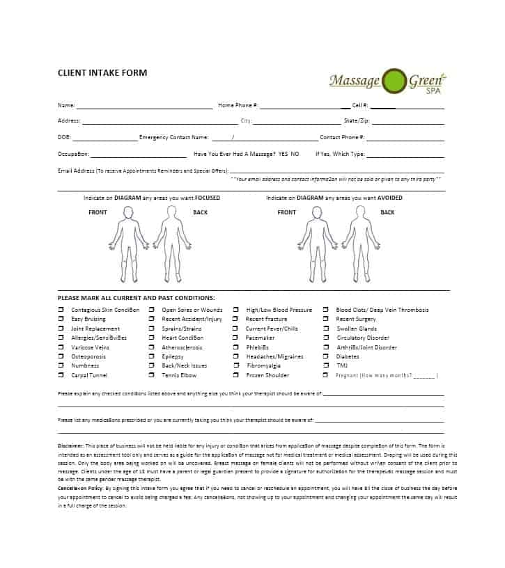 Massage Intake Form Template 49