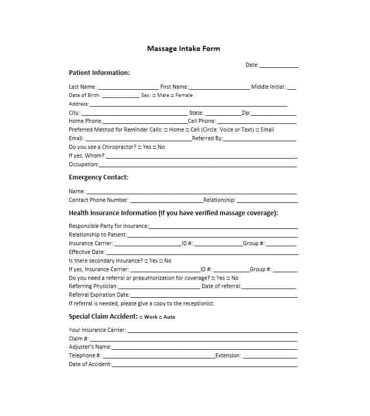 Massage Intake Form Template 50