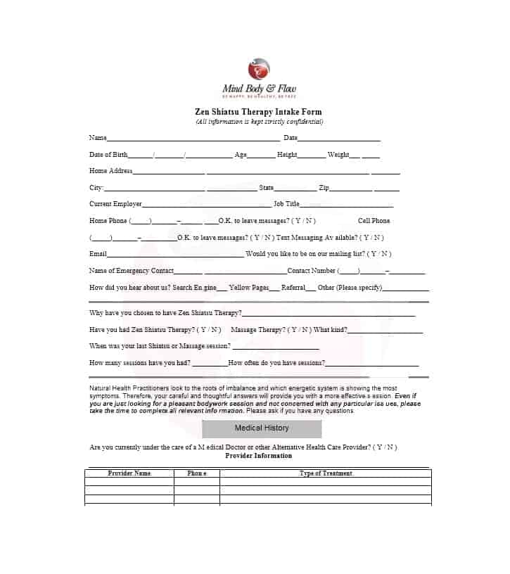 Massage Intake Form Template 54