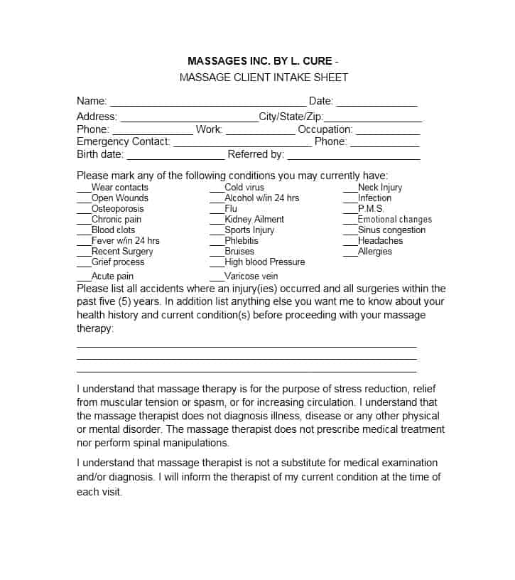 Massage Intake Form Template 55