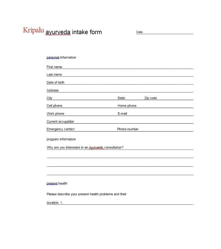 Massage Intake Form Template 58