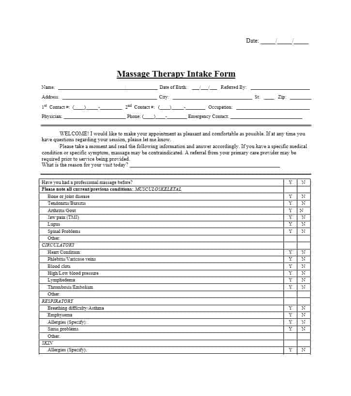 Massage Intake Form Template 59
