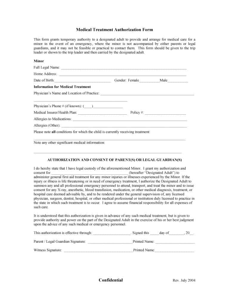 Permission Letter For Medical Treatment from printabletemplates.com