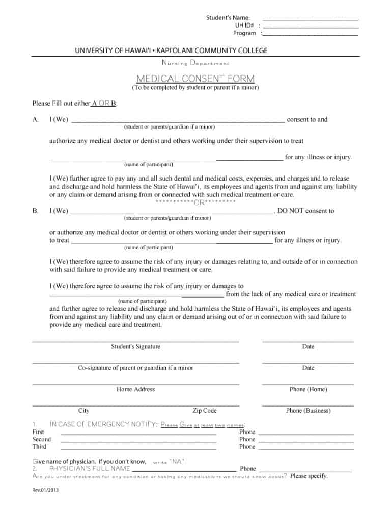 Medical Consent Forms  Free  Printable Templates