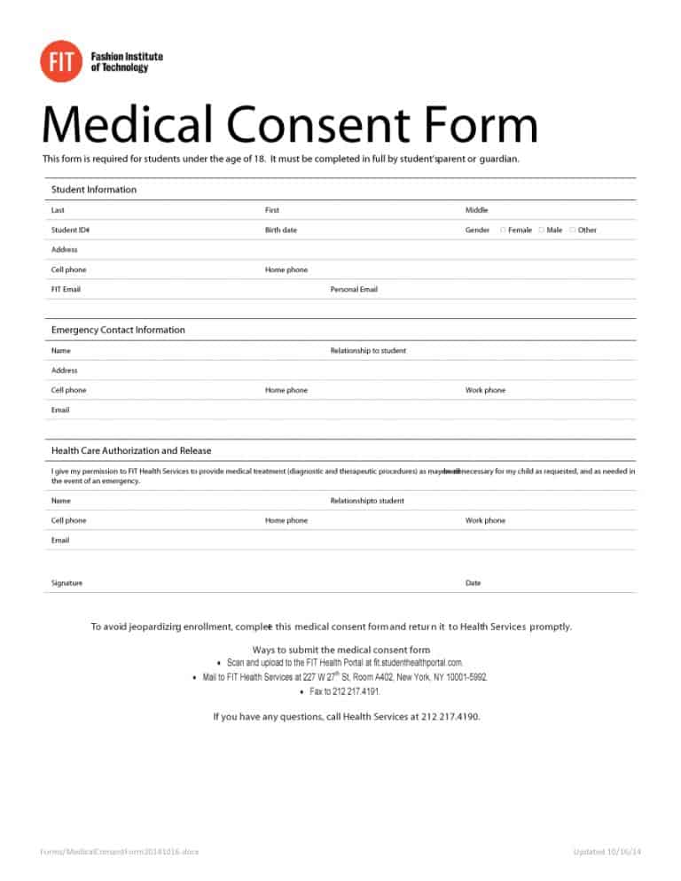 photo regarding Printable Medical Consent Form for Minor identify 45 Health care Consent Styles (100% Absolutely free) - Printable Templates