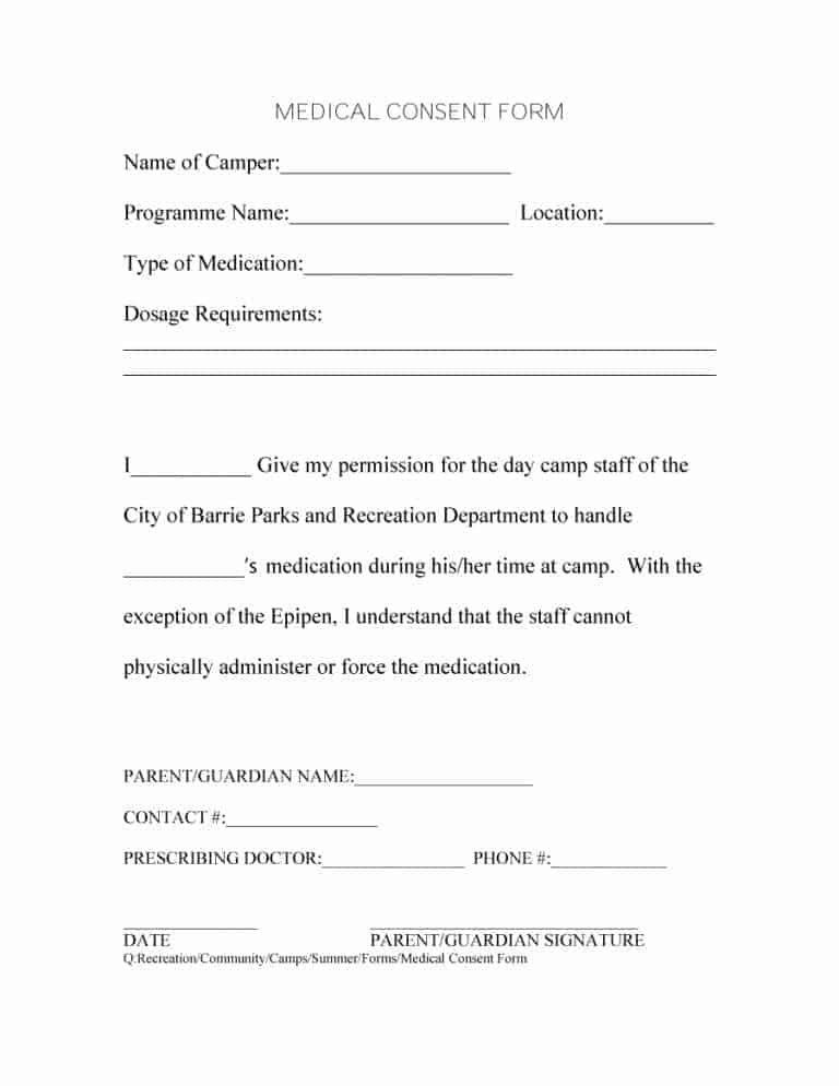 surgery consent form template - 45 medical consent forms 100 free printable templates
