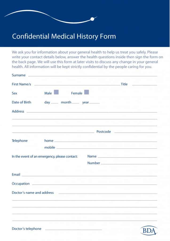 Awesome Medical History Form 03