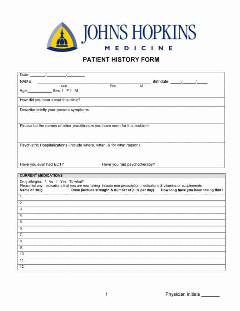 67 Medical History Forms [Word, PDF] - Printable Templates