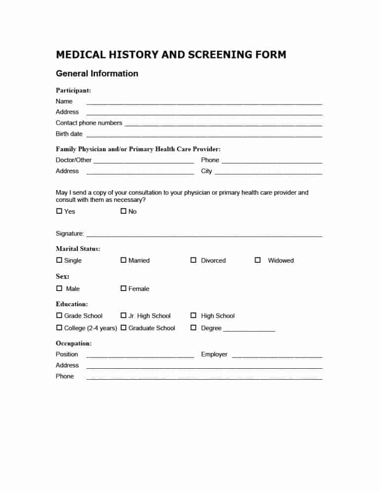 medical history form 16