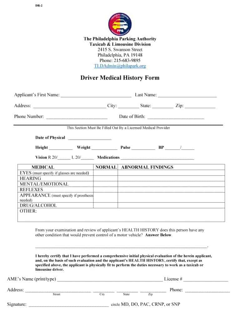 67 Medical History Forms Word Pdf Printable Templates
