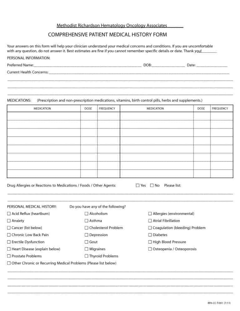 Patient History Form Template  Resume Ideas  NamanasaCom