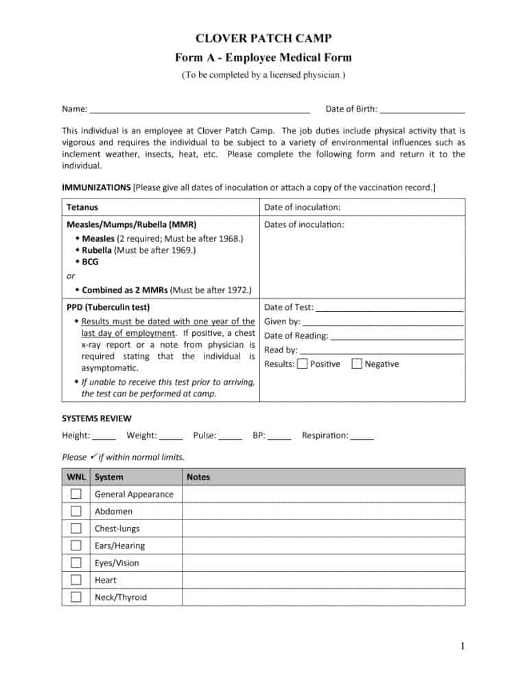 Medical History Forms Word Pdf  Printable Templates