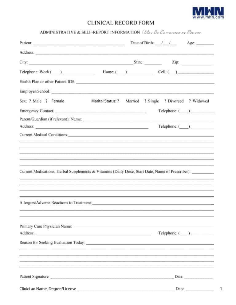 Medical History Form 64  Medical Record Form Template