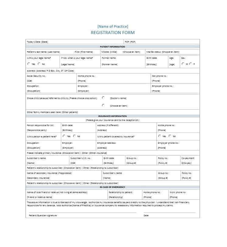 Patient Registration Form 01