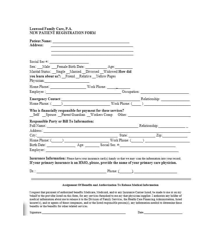 44 New Patient Registration Form Templates - Printable Templates New Patient Medical Forms Copay on patient medicare co-pays, patient co-pay receipt, patient advocate letter, patient co-pay cartoons, patient access network, patient day sheet, patient benefits,