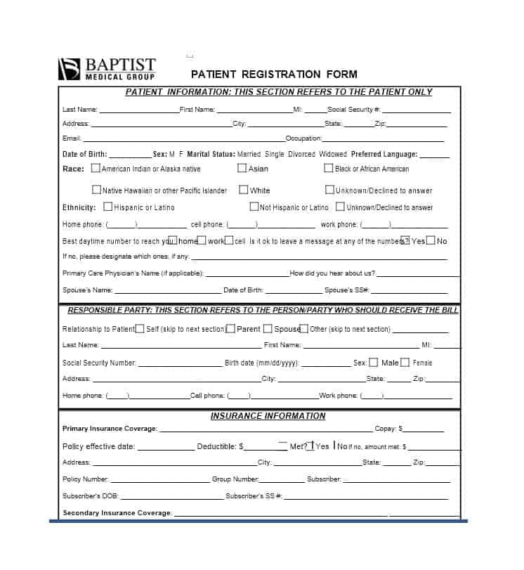 44 New Patient Registration Form Templates - Printable Templates Medical Clinic Admission Form on medical examination form, medical triage form sample, medical discharge form, printable medical release form, doctors medical release form, medical history form, medical information release form,
