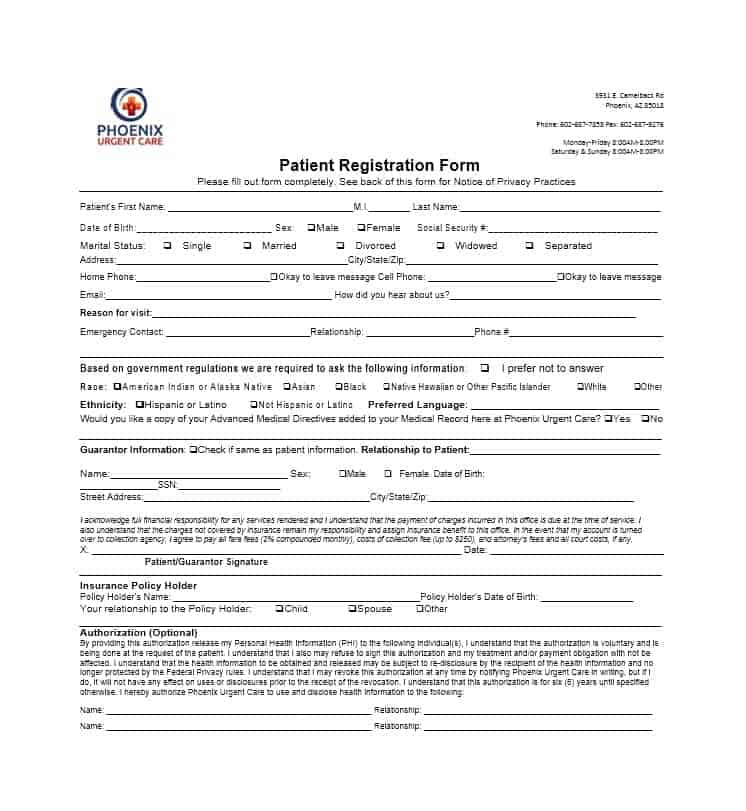 New Patient Registration Form Templates  Printable Templates