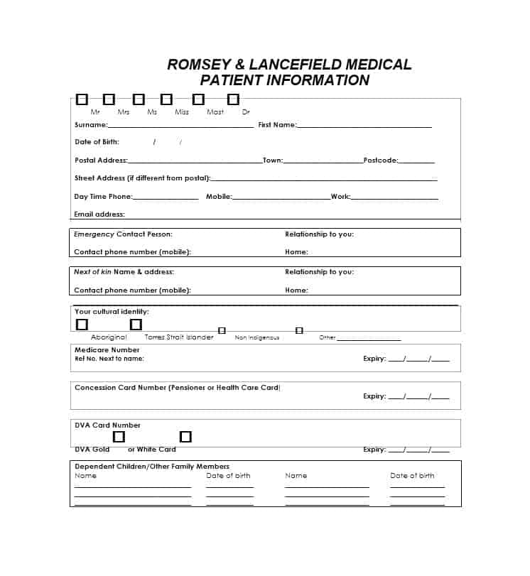 Patient Registration Form 20