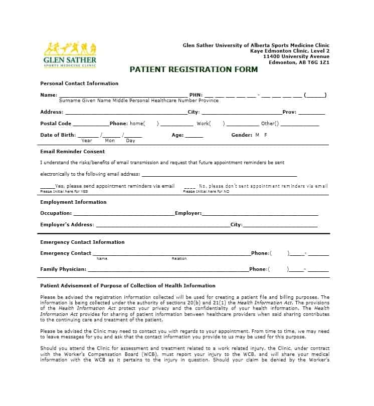 Patient Registration Form 30