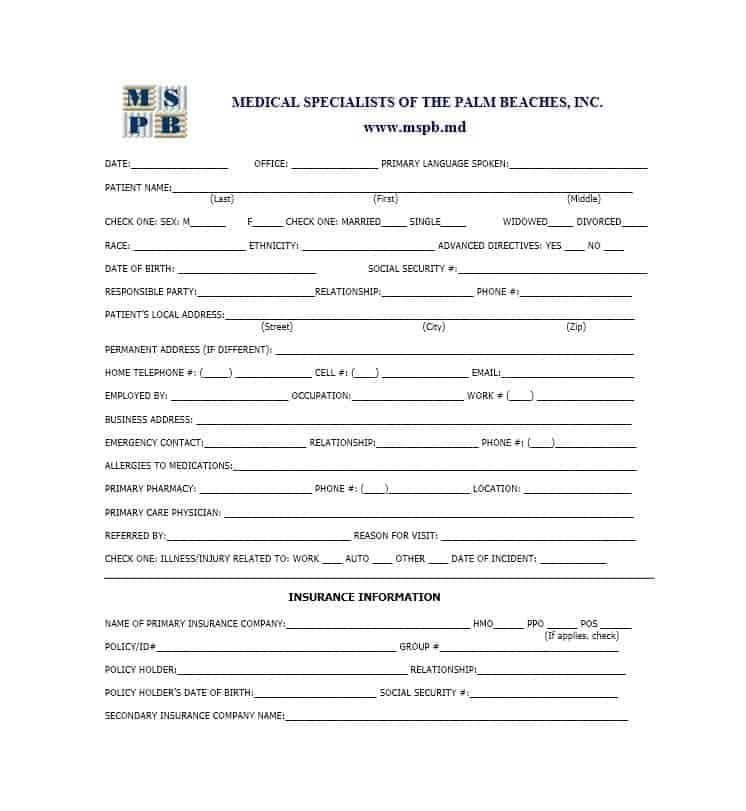 new patient forms medical office templates