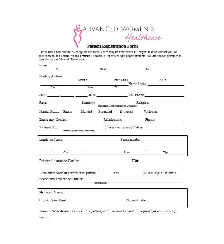 Patient Registration Form 43