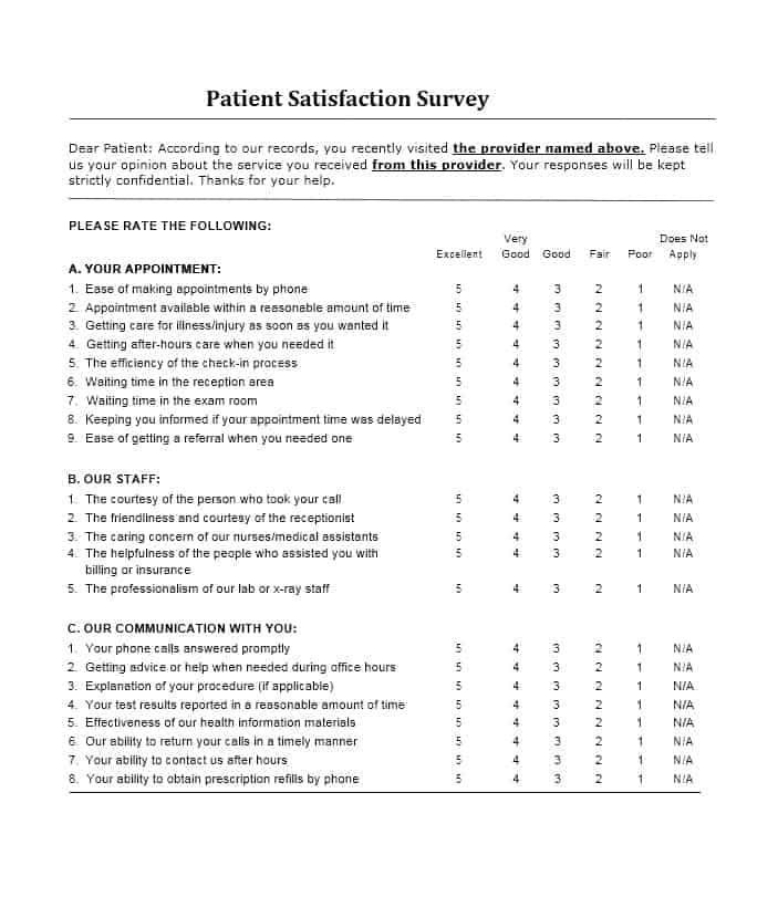 Patient Satisfaction Survey Template 01