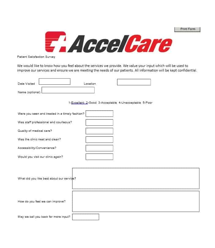 Patient Satisfaction Survey Template 16
