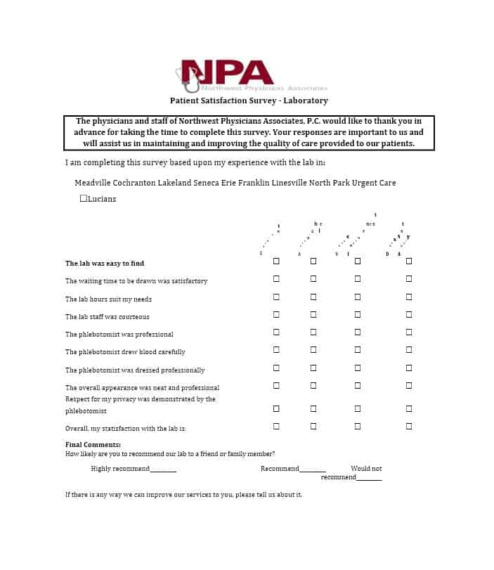 Effective Patient Satisfaction Survey Templates  Questions