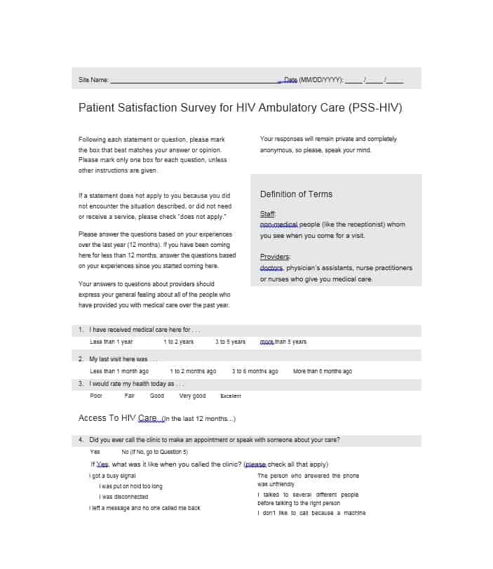 Patient Satisfaction Survey Template 27